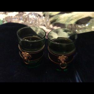 Vintage Brass Lion Shot Glasses